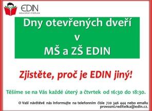 Srdečně Vás zveme na prohlídku naší mateřské a základní školy EDIN.